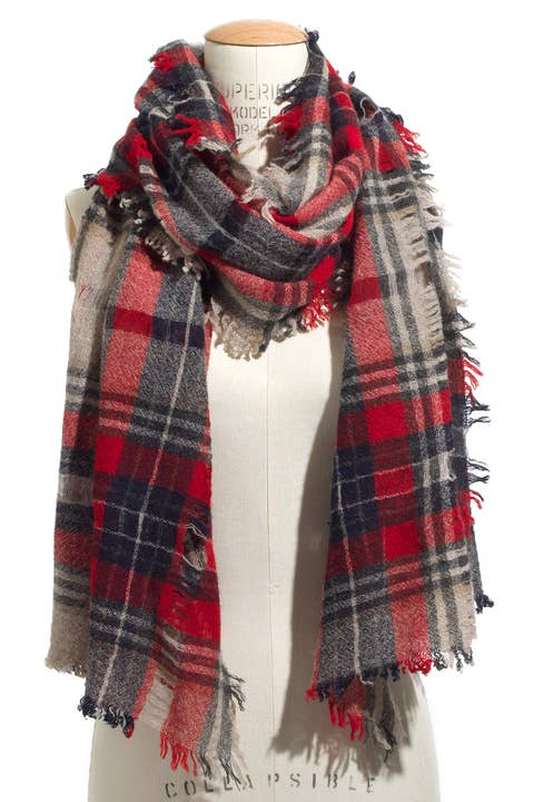 madewell openweave scarf in scottsdale plaid