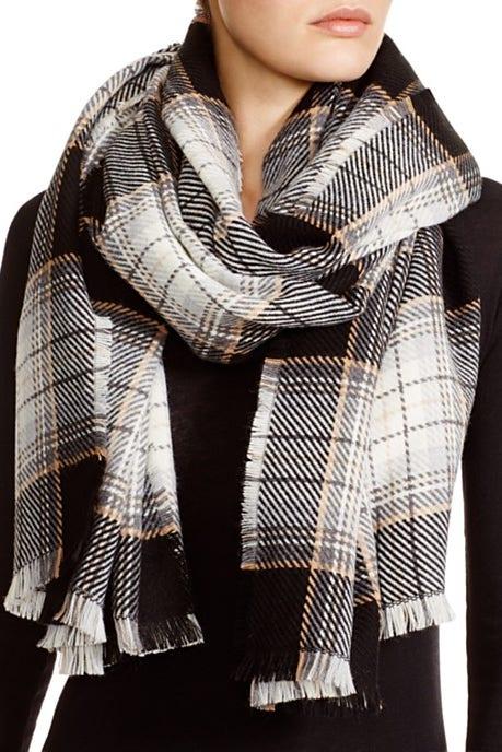 aqua plaid scarf in neutral