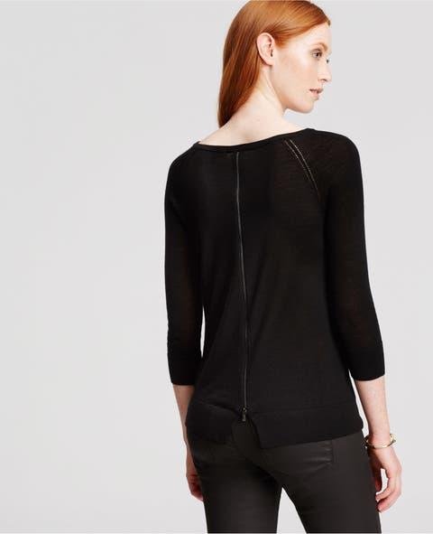 Black Ann Taylor Back Zip Merino Wool Sweater