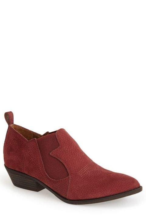 lucky brand western, leather slip-on bootie in ruby wine nubuck.