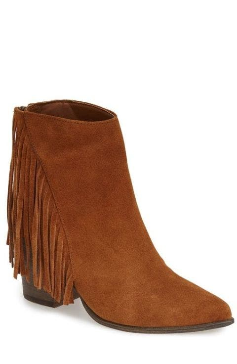 pointed toe western bootie in chestnut suede by Steve Madden