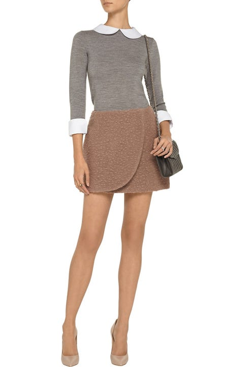 Alice + Olivia Porla Wool Sweater in gray with white detailing