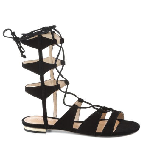 schutz erlina gladiator sandals in black suede