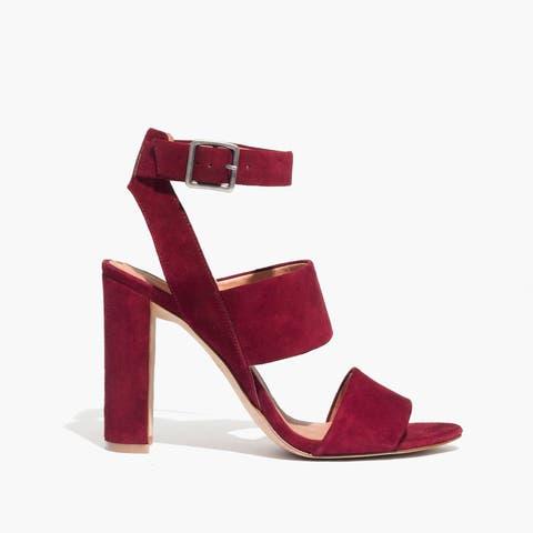 madewell octavia suede sandal in dark cabernet