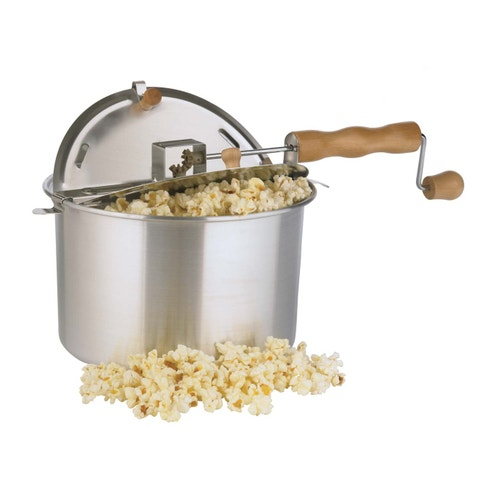 """<p><em><strong> $30, <a href=""""http://www.cabelas.com/product/Cabelas-Whirley-Pop-Popcorn-Maker/1421077.uts?productVariantId=3294496&srccode=cii_17588969&cpncode=42-109040954-2&WT.tsrc=CSE&WT.mc_id=GoogleProductAds&WT.z_mc_id1=03545570&rid=20 """">cabelas.com</a> </strong></em></p><p> No movie night is complete without a bowl full of fresh, hot, buttery popcorn. Cranking this unit's handle rotates the stainless steel rod, stirring kernels for optimum results. This popcorn maker prepares up to 6 quarts in just three minutes. </p>"""