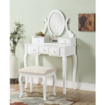 roundhill furniture ashley wood make-up vanity table and stool set white
