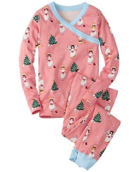 hanna andersson long john pajamas in organic cotton santa lucia pink