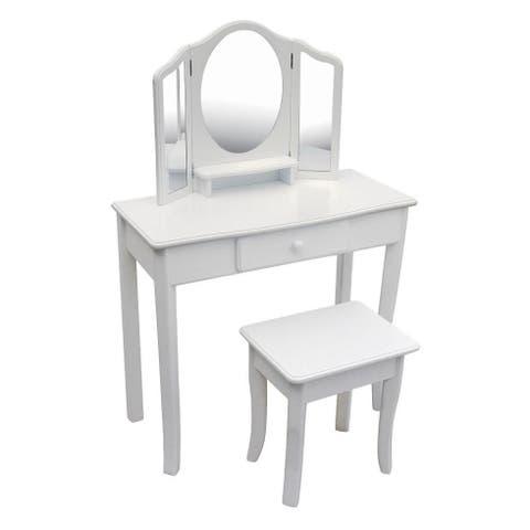 guidecraft classic vanity and stool white
