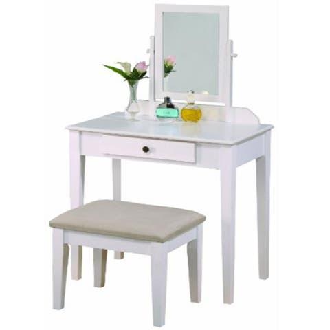 crown mark iris vanity table and stool white