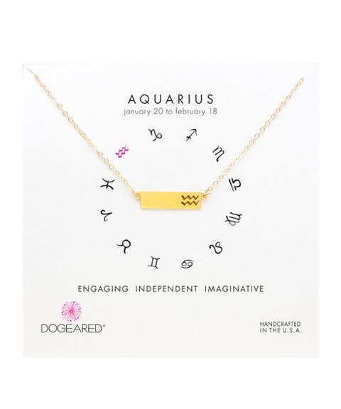 dogeared gold dipped zodiac necklace aquarius