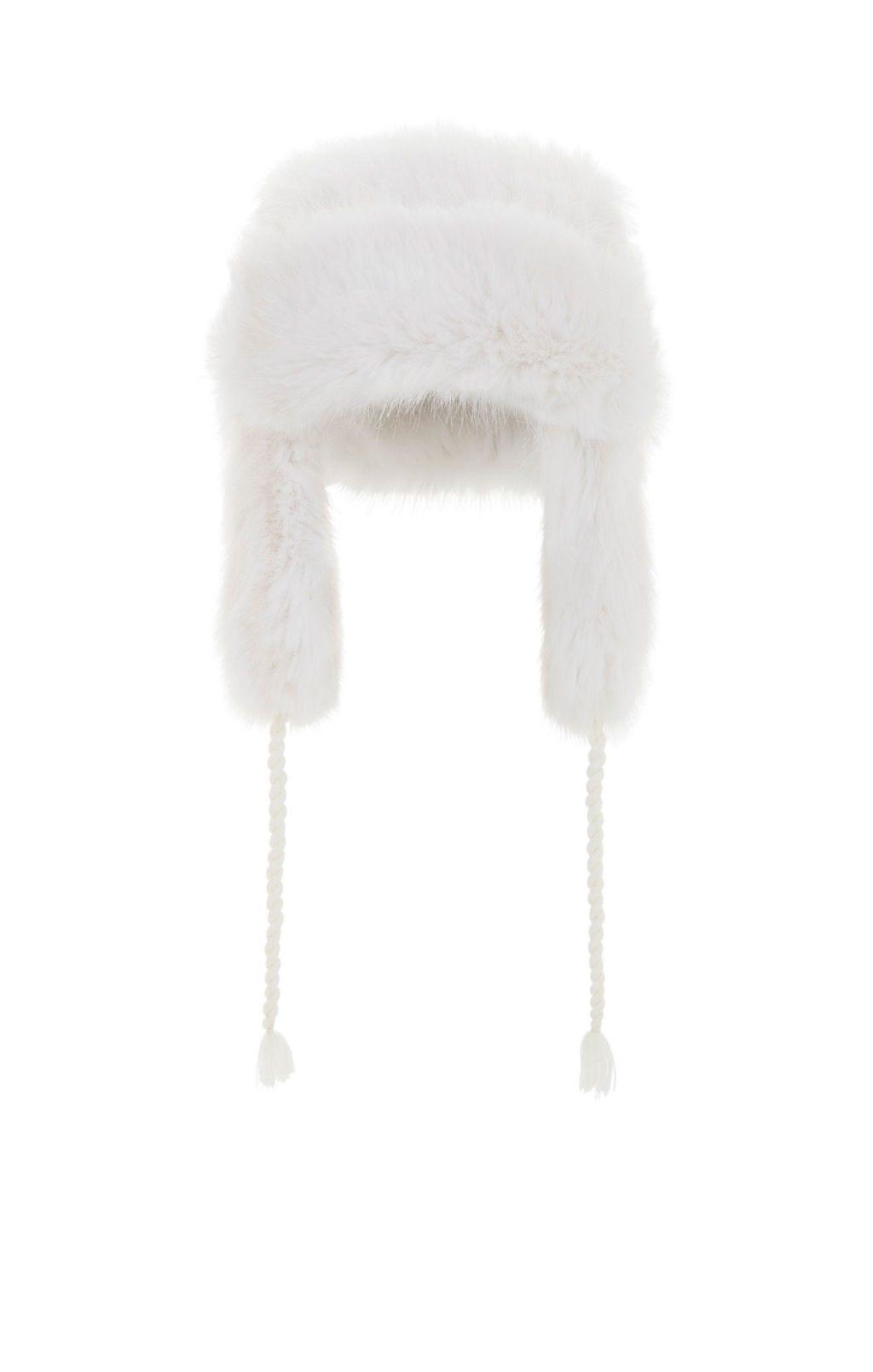 bcbb faux fur trapper hat in white