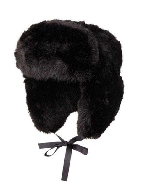 imposter faux fur trapper hat in black