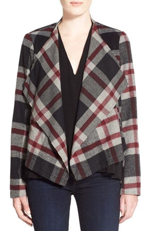 cupcakes and cashmere alta plaid jacket in red multi