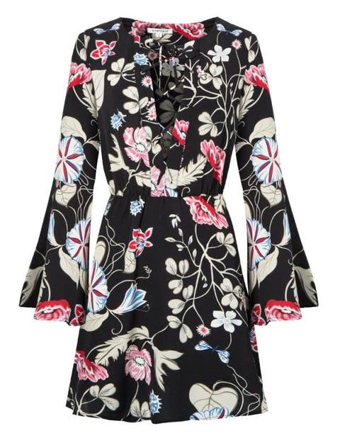 pixie market floral bell sleeve dress in black