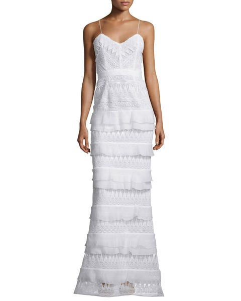 Self-Portrait Penelope Sleeveless Tiered Lace Gown