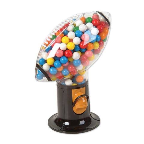 """<p><strong> <em> $11, <a href=""""http://www.bestbuy.com/site/grand-star-football-snack-dispenser-black-red-clear/8575327.p?id=1219693611455&skuId=8575327 """" target=""""_blank"""">bestbuy.com</a></em></strong></p><p><strong>Best for Sports Fanatics </strong></p><p>Score the winning touchdown, time and time again, when you dive into this football-shaped candy dispenser's sweet snacks. Plus, its tough, plastic construction makes this unit a lightweight, durable option. </p>"""