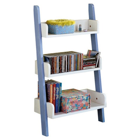 tms children's ladder bookcase blue and white