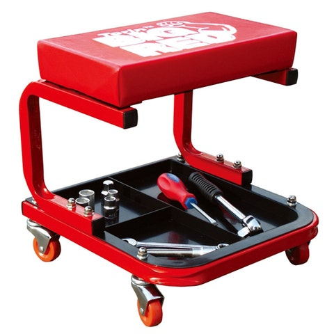 """<p><strong><em>$28, <a href=""""http://www.amazon.com/Torin-Jack-TR6300-Creeper-Seat/dp/B000COC67E/"""" target=""""_blank"""">amazon.com</a></em></strong></p><p>Starting with the basics, here we have a very budget-friendly offering from Torin. Boasting a heavily padded seat and a handy storage tray, this is a great starter for any at-home tinkerer.</p><p><strong>More: </strong><a href=""""http://www.bestproducts.com/cars/tools-and-DIY/g970/best-mechanic-tool-sets/"""" target=""""_blank"""">Best Tool Sets for the Home Mechanic or Aspiring Apprentice</a><br></p>"""