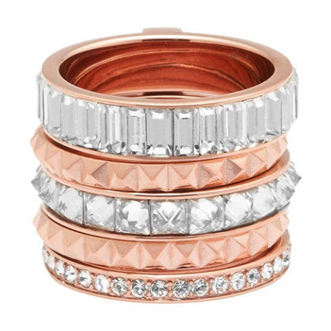 henri bendel chrysler puzzle ring in rose gold and crystal