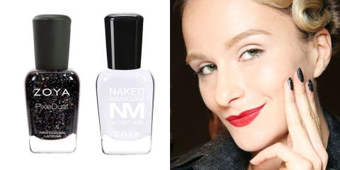 """<p><em><strong>ZOYA Naked Manicure Naked Base, $12, </strong></em><a href=""""http://www.zoya.com/content/item/Zoya/Zoya-Naked-Manicure-Naked-Base.html"""" target=""""_blank"""">zoya.com</a>; <em><strong>ZOYA PixiedustNail Polish in Imogen, $10, </strong><strong><a href=""""http://www.zoya.com/content/item/Zoya/Zoya-Nail-Polish-in-Imogen.html"""" target=""""_blank"""">zoya.com</a>; </strong></em><em><strong>ZOYA Naked Manicure Glossy Seal, $12, </strong><a href=""""http://www.zoya.com/content/item/Zoya/Zoya-Naked-Manicure-Glossy-Seal.html"""" target=""""_blank""""><strong>zoya.com</strong></a></em></p><p>Whether you're sporting an outfit built from solid colors, or you love mixing and matching patterns and fabrics, this dazzling mani from Zang Toi's A/W resort-themed collection complements it all. As a base, coat nails with the Naked Base before applying two coats of Imogen's smoky, glittering hue. Lock it down with a coat of Naked Manicure's Glossy Seal to prevent chipping.<br><strong></strong></p>"""