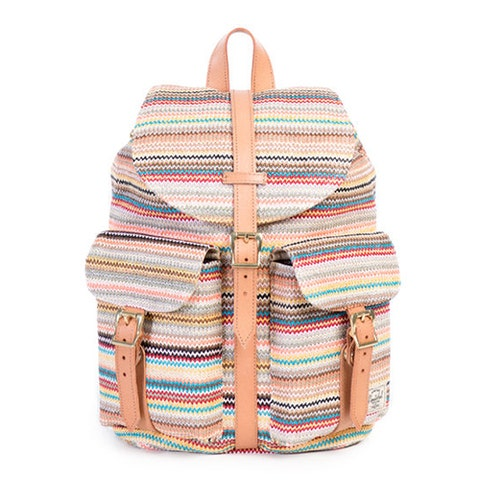 """<p><strong><em>$100, </em></strong><strong><em><a href=""""http://shop.herschelsupply.com/products/dawson-backpack-womens-daybreak"""" target=""""_blank"""">herschelsupply.com</a></em></strong></p><p>The popular Dawson backpack gets an update with woven material. This backpack was designed in the spirit of carefree exploration, and brings a fresh wave of color to daytime adventures. Custom cotton lining and a zip pocket detail the inside. </p>"""