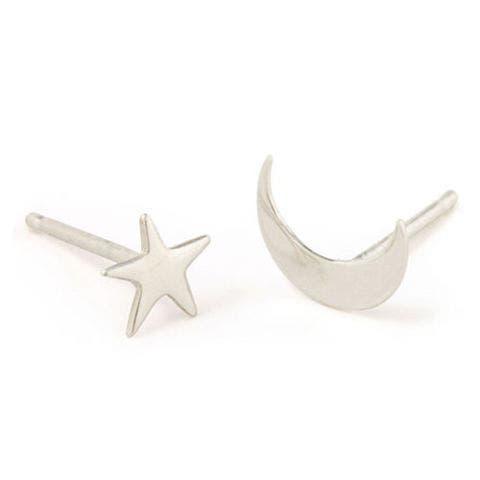 catbird nyc tiny dancer stud earrings moon and stars silver