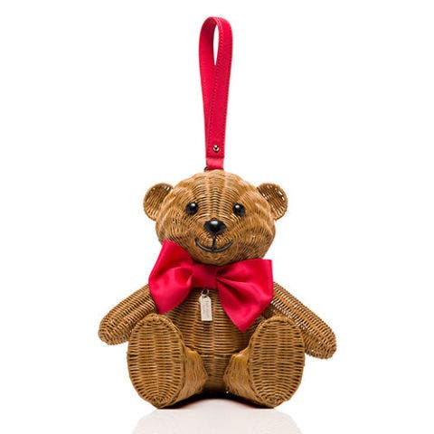 kate spade wicker teddy bear clutch bag