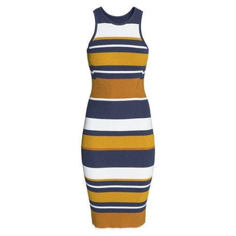 h&m striped rib knit sleeveless tank dress in blue and yellow