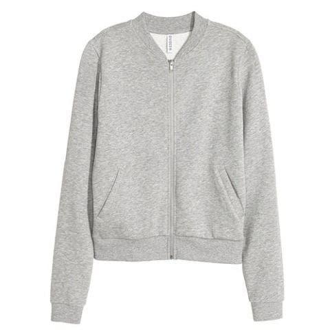 h&m sweatshirt jacket in gray