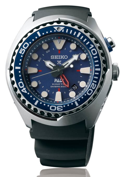 """<p><strong><em>$725, <a href=""""http://www.seiko-prospex.com/sea/sun065p1"""" target=""""_blank"""">seiko-prospex.com</a></em></strong></p><p>Seiko's divers are always an enthusiast's favorite, and what better way to follow up the hugely popular <a href=""""http://seikousa.com/collections/prospex/SRP777"""" target=""""_blank"""">Prospex SRP777 """"Turtle"""" reissue</a> than with a pair of killer limited-edition divers launched in partnership with PADI — the Professional Association of Diving Instructors? This bold blue GMT diver is a chunky 47.5 millimeters, yet somehow it will still fit well on smaller wrists, as long as you can handle its heft. If you prefer a black dial, you can get your hand on the <a href=""""http://www1.macys.com/shop/product/seiko-mens-automatic-prospex-kinetic-gmt-diver-stainless-steel-bracelet-watch-48mm-sun019?ID=2375947&CategoryID=23930#fn=sp%3D1%26spc%3D10%26ruleId%3D25%26slotId%3D1%26kws%3Dseiko%20prospex"""" target=""""_blank"""">non-PADI version here</a> and skip waiting until this one hits stores later in the year.</p>"""