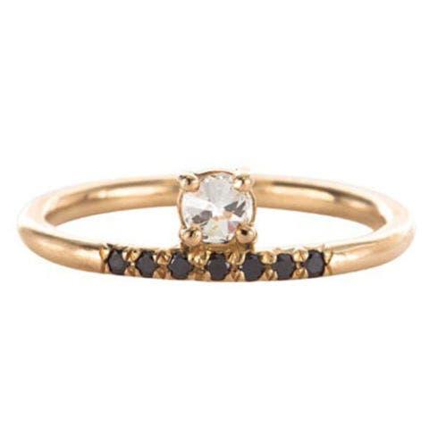 mociun stacked white diamond pave black diamond ring