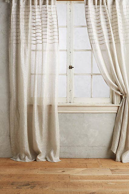 Anthropologie Glinting Pintuck Curtain