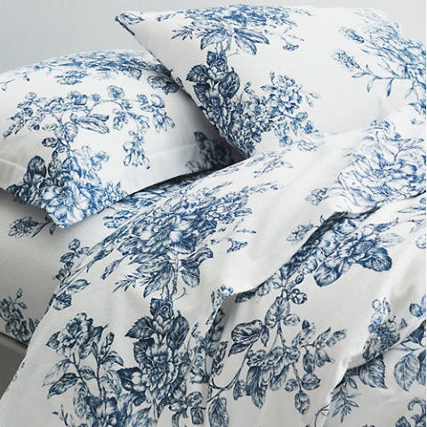 Garnet Hill Signature Toile Floral Flannel Bedding