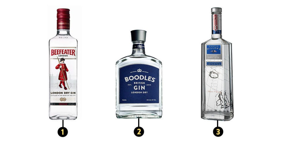 Beefeater, Boodles, and Miller's Gin for Negroni