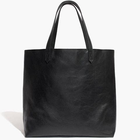 madewell black leather transport tote bag
