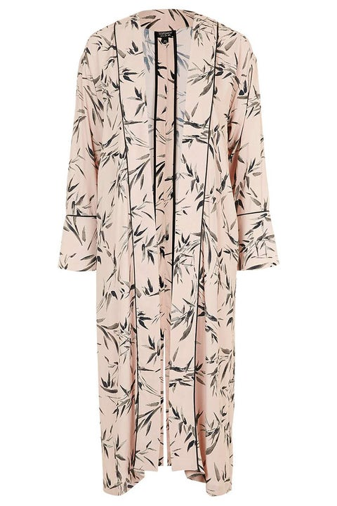 topshop bamboo print duster jacket pink