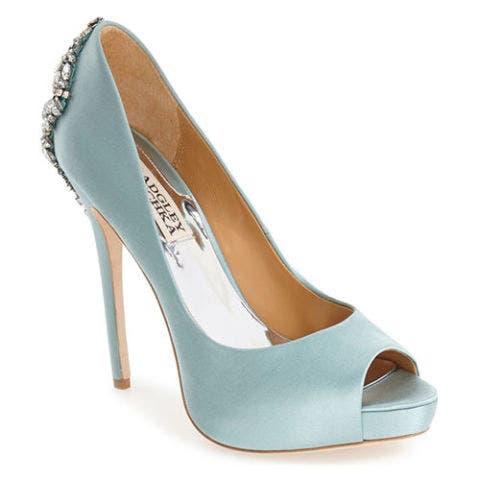 badgley mischka kiara satin and crystal blue open toe pump