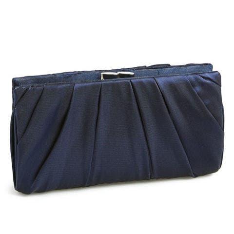 nina larry navy blue satin clutch bag