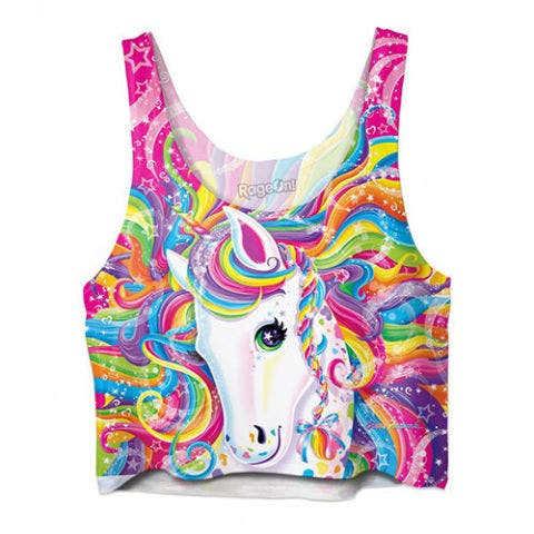 lisa frank unicorn crop top