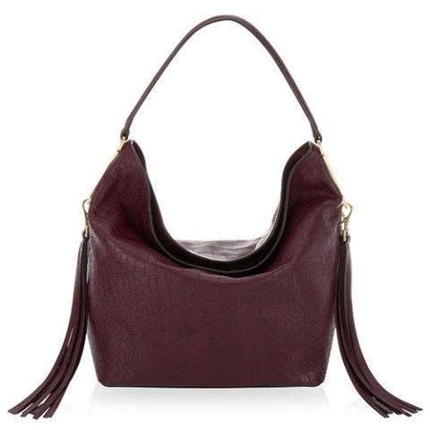 henri bendel kensington crocodile print burgundy hobo bag