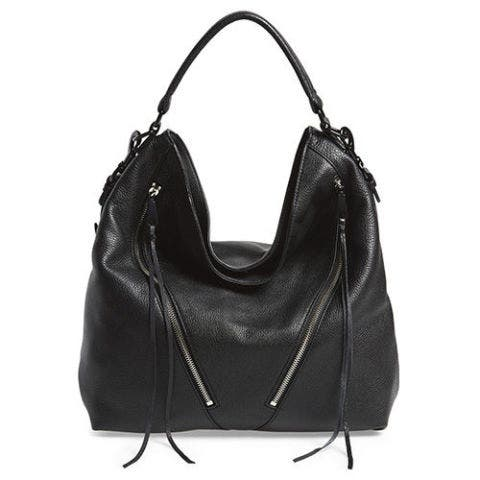 rebecca minkoff moto hobo bag in black leather