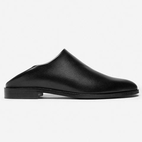 everlane the babo black leather mule slide loafer