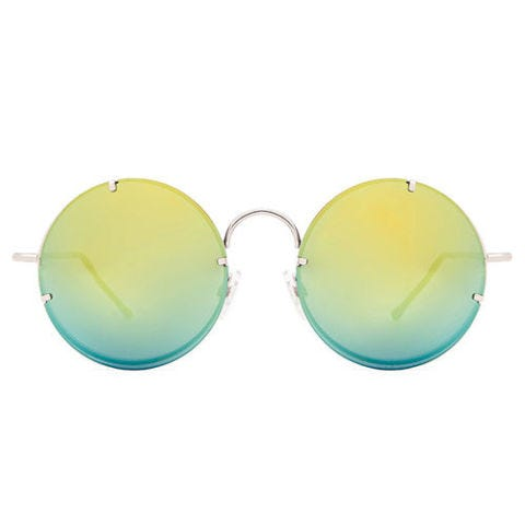 spitfire poolside round sunglasses in gold and silver mirror