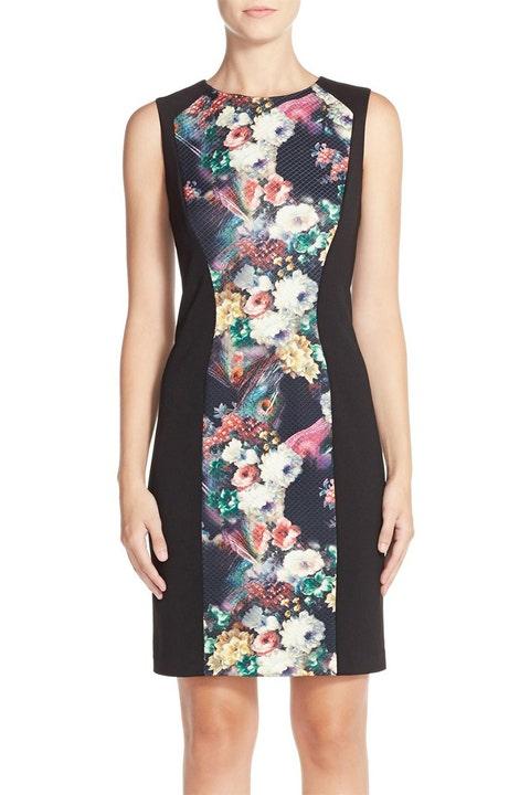 Maggy London Floral Print Jersey Midi Dress