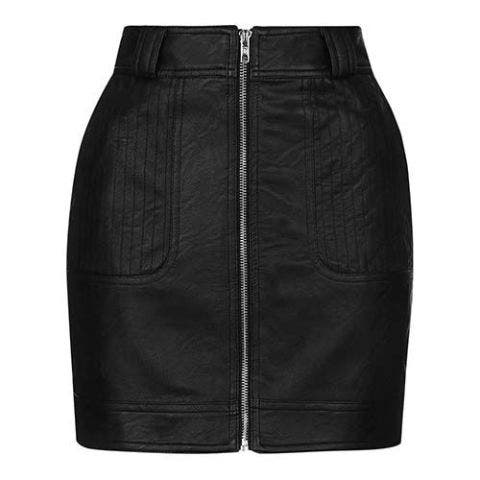 topshop zip front black faux leather skirt