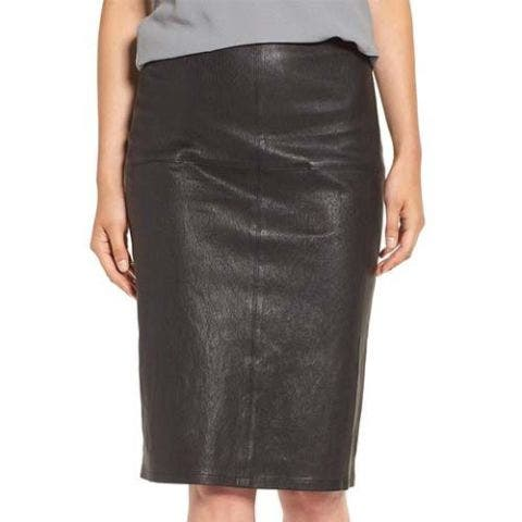 eileen fisher modern stretch leather pencil skirt black