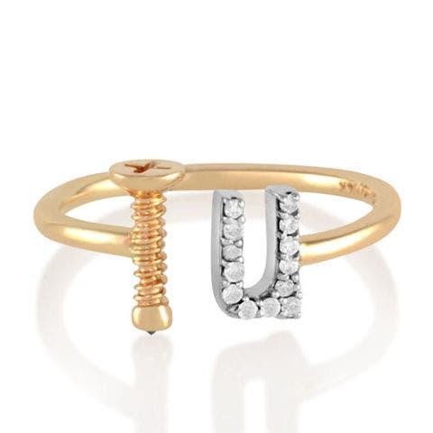 alison lou gold and diamond screw u ring