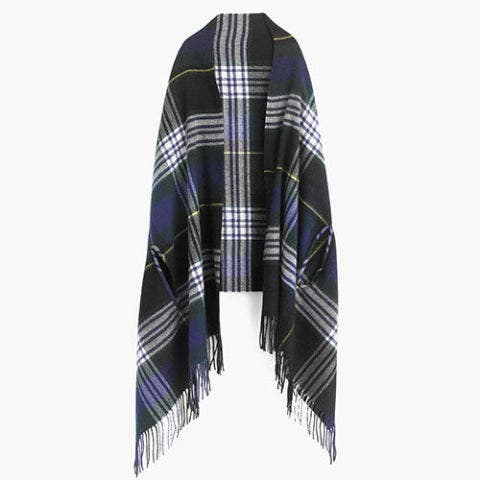j. crew green and blue plaid cape shawl