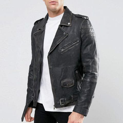 Barneys Premium Washed Leather Biker Jacket