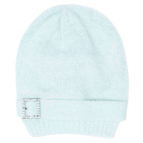 target crystal buckle mint beanie hat
